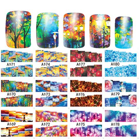 Nail Water Sticker 12 Pcs 1 sweet trend 12 designs in 1 creative painting nail water decals transfer stickers manicure