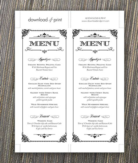 vintage menu template ornate vintage type menu template print