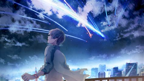 cool wallpaper with your name download 1366x768 kimi no na wa taki tachibana sky