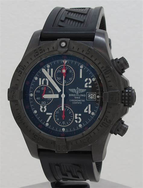 Breitling ref M13380 Black Steel Auto 44mm Limited Edition Avenger Chronograph on Rubber in
