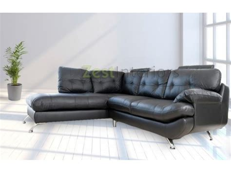 Verona Leather Sofa Verona Left Large Corner Black Faux Leather Sofa W Headrest