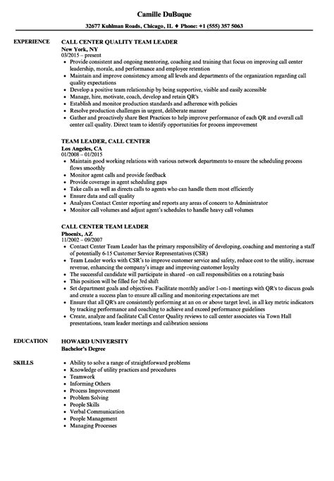 sle resume objective for call center team leader call center team leader resume sles velvet