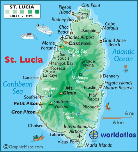 map st islands st lucia large color map