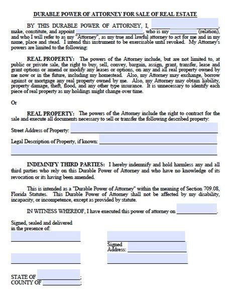 free printable durable power of attorney template printable sle power of attorney form free printable