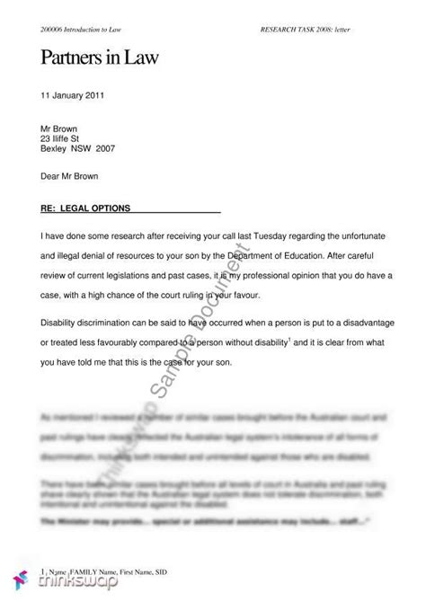 Letter Of Advice A Two Page Exle Of A Letter Of Advice To A Client Diability Child Mental Disabled