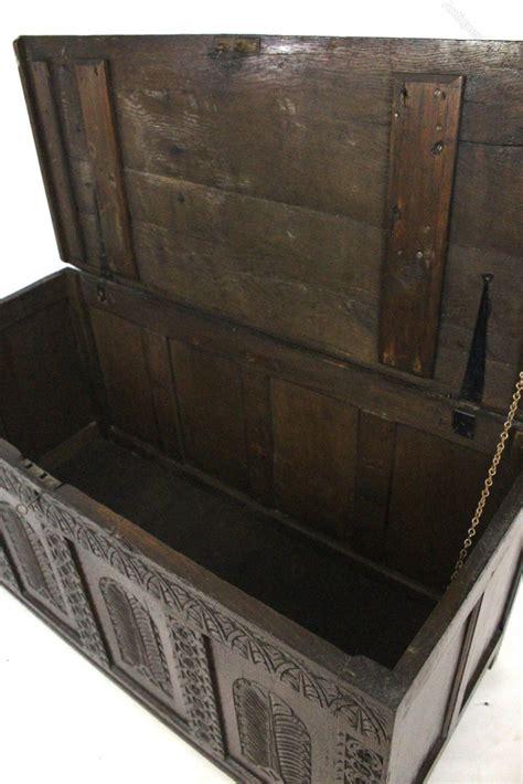 oak ottoman chest oak carved coffer blanket box ottoman chest antiques atlas