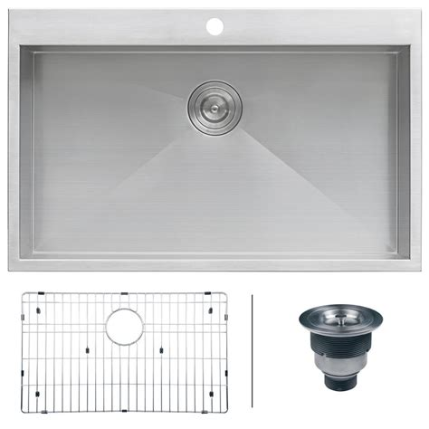 Top Stainless Steel Kitchen Sinks by Ruvati Drop In Top Mount Stainless Steel 33 In 16