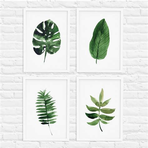 Tree Decor For Home by Tropical Leaf Print Set Of Four By The Motivated Type