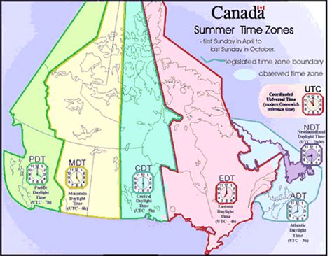 canadian map time zones cing canada cgrounds canadian daylight saving time zones