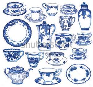 fine china set of hand drawn porcelain teacups and saucers