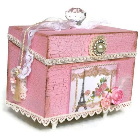 recipe card box jewelry box eiffel tower shabby chic decor