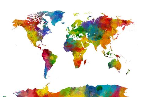 The World In Watercolor by Watercolor World Map Multicolor 2 Decoration Murale