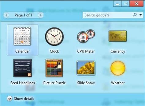 gadget bureau windows 8 windows 8 desktop gadgets