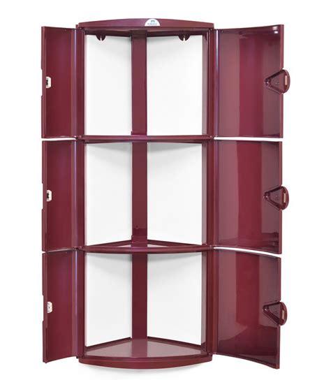 Nilkamal Cupboard Price List - nilkamal corner cabinet 3d maroon buy nilkamal corner