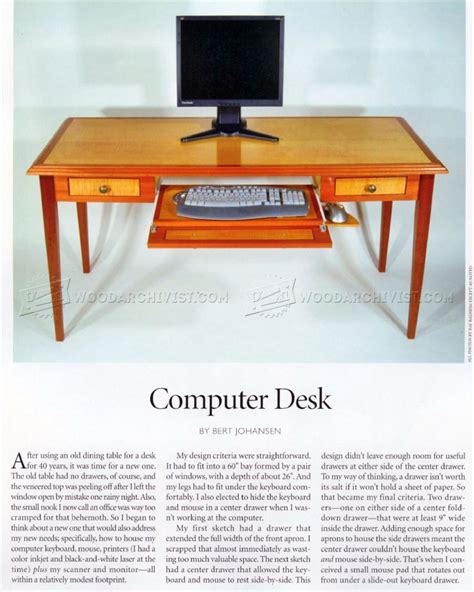 Computer Desk Design Plans Computer Desk Plans Woodarchivist