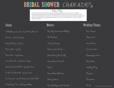 printable bridal shower charades bridal shower charades just like the classic charades