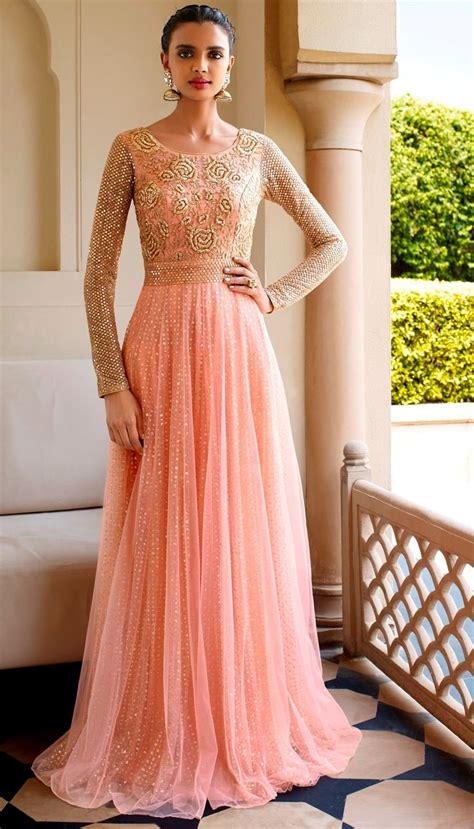 floor length anarkali lehenga shopping net resham embroidered on neck floor length anarkali