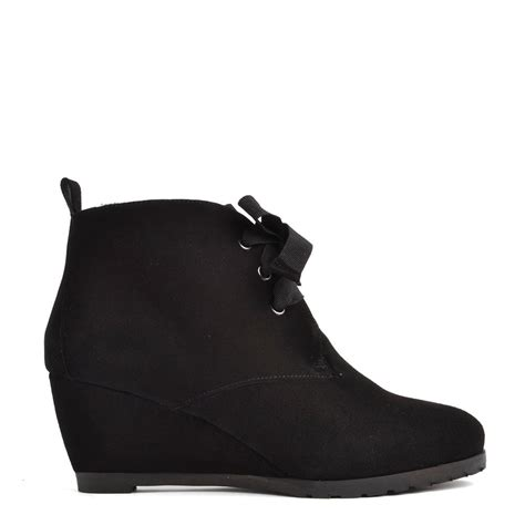 elia b albert black suede lace up ankle boot