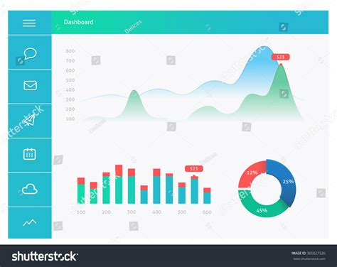 Infographic Dashboard Template With Flat Design Graphs And Charts Dashboard Template Design Infographic Dashboard Template