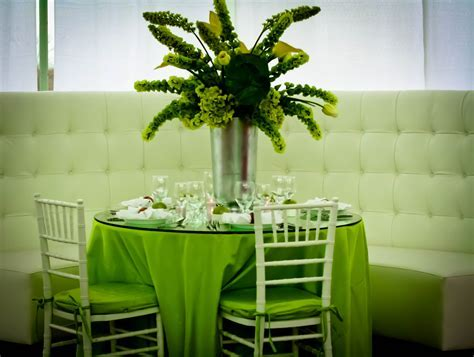 Green table decorations, green wedding colors green