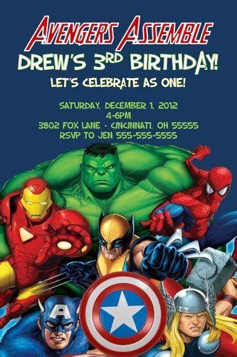 Avengers Assemble Custom Designed Birthday Invitation Photo Or No Phot Handmade Cards Marvel Invitation Template Free