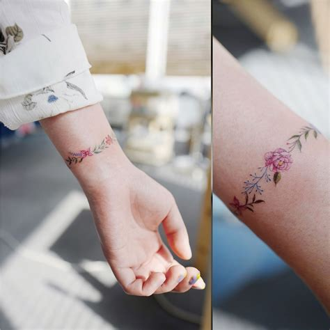 wrist cuff tattoo simple flower wrist working out meanings