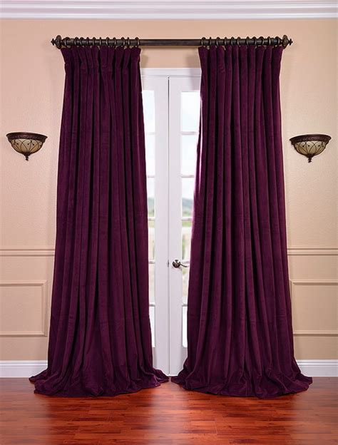 wide pocket valance curtain signature eggplant double wide velvet blackout pole pocket