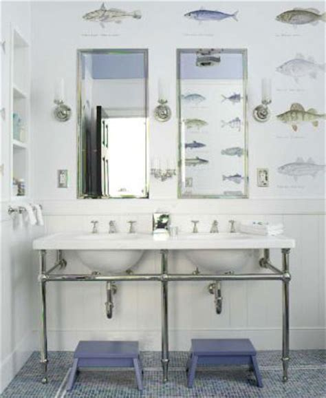 fish wallpaper for bathroom double marble sinks with chrome pedestal base blue tiles