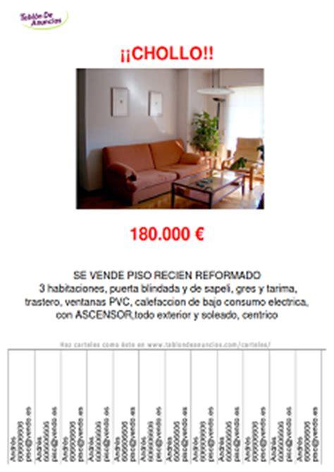 cartel venta piso carteles de anuncios gratis tablondeanuncios