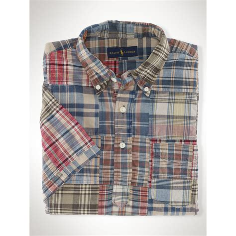 polo ralph cotton madras patchwork shirt for lyst