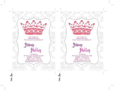templates word birthday princess invitation templates invitation template
