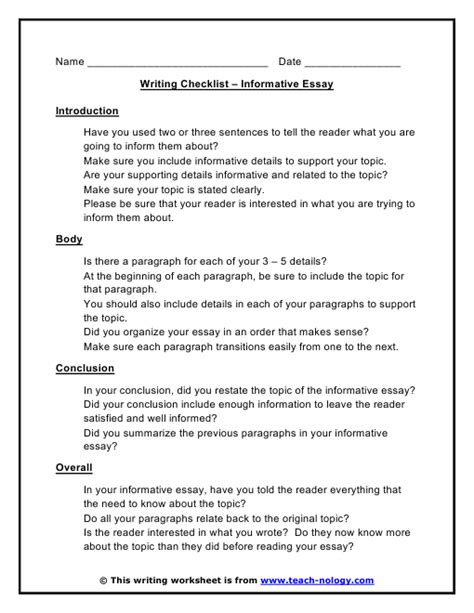 Write Informative Essay Outline by Informative Essay Writing Checklist