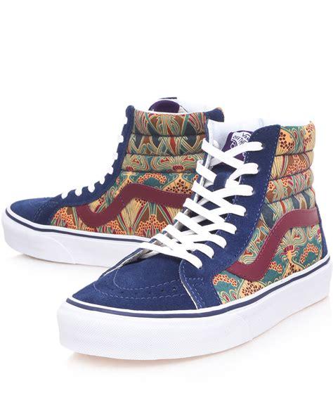 blue pattern vans lyst vans blue ianthe liberty print sk8hi trainers in