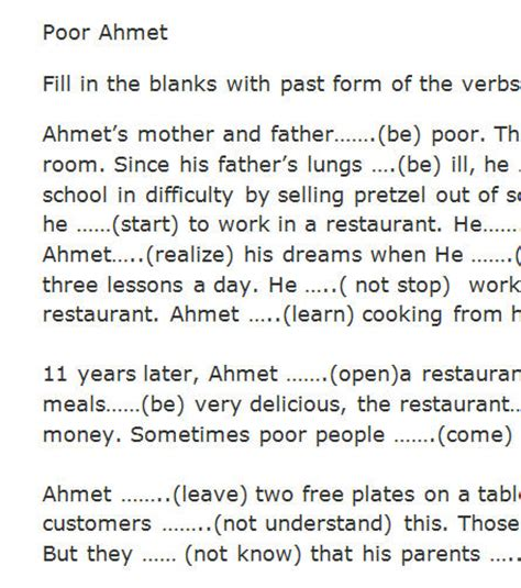 biography simple past exercise poor ahmet past simple exercise