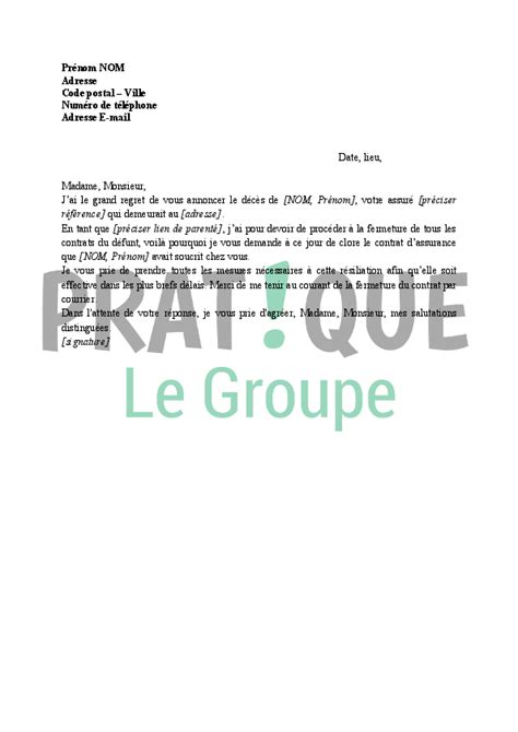 Lettre De Resiliation Mobile Cause Deces modele lettre resiliation deces document