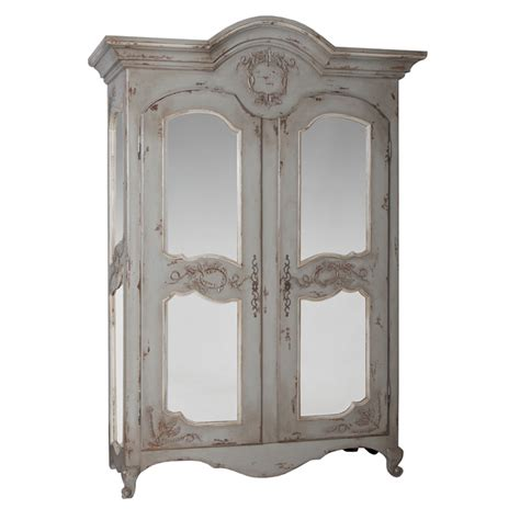 Classic Armoire by Classic Mirrored Armoire Gray Finish