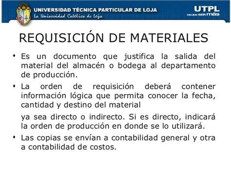 contabilizaci 243 n de los elementos del costo requisicion de materiales formatos tema4 requisicion de