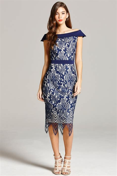 navy lace bardot midi dress from uk