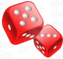 Poker Card Table Two Glossy Rounded Red Dice Cartoon Clipart