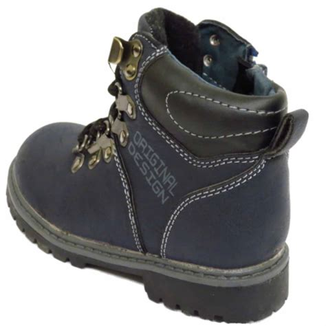 winter school shoes boys childrens navy winter warm lace up ankle boots