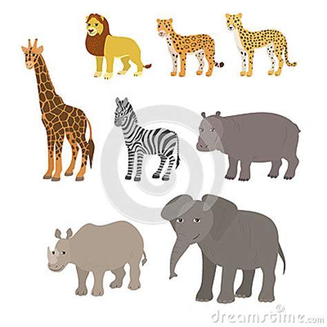 Cartoon Set: Lion Leopard Cheetah Giraffe Zebra Hippo ...