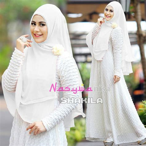 Dress Bahan Babat shakila special white baju muslim gamis modern
