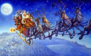santa claus on sleigh wallpapers and reindeer christmas