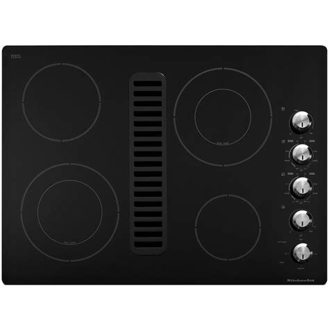 electric cooktop with downdraft kitchenaid cooktops 30 in downdraft vent ceramic glass electric cooktop in black with 4