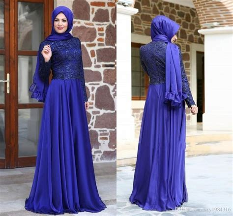 Dh 6592 Kaftan Blue arab royal blue prom dresses sleeve lace top modest floor length muslim evening dresses