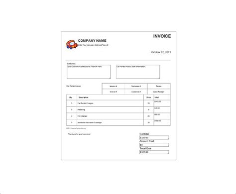 Car Rental Receipt Template by Car Rental Invoice Pdf Hardhost Info