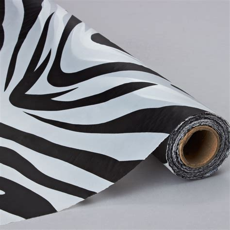 black and white zebra plastic table and banquet roll. 40