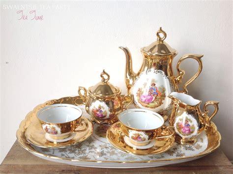 antique porcelain tea set with teapot serving tray sugar