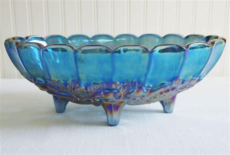 carnival glass blue bowl