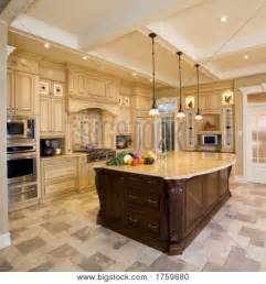 Large Island Kitchen Beige Kitchen Large Island Image Photo Bigstock